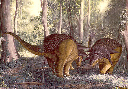 Two Edmontonia males in a shoving contest of strength.